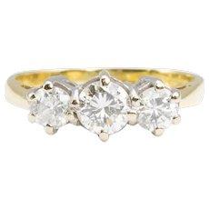 18ct Gold 3 Stone 3/4 Carat Diamond Trilogy Ring