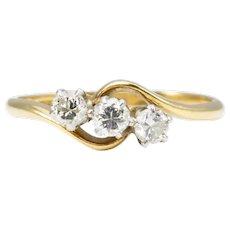 18ct Gold 3 Stone 0.45 Carat Diamond Cross Over Ring