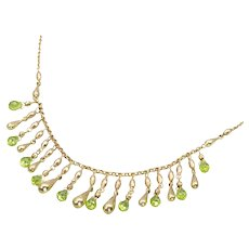9ct Gold Green Beryl Teardrop Necklace