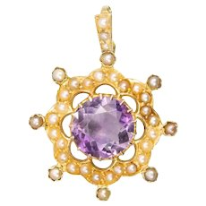 Antique 15ct Gold Amethyst & Seed Pearl Circular Pendant