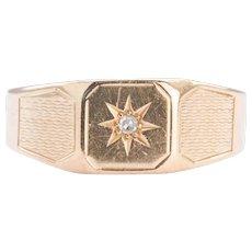9ct Gold Square Faced Diamond Signet Ring, V (US 10¾), Hallmarked 1975