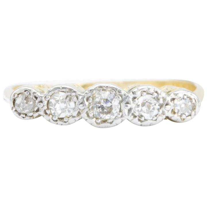 Vintage Gold Ring in 18ct with 5 Old-cut Diamonds
