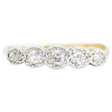 Antique 18ct Gold Old Cut Diamond 5 Stone Ring