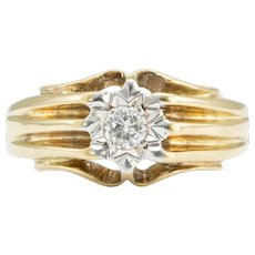 9ct Gold Solitaire Diamond Wide Ring