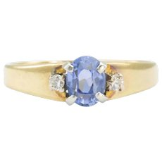 18ct Gold Ceylon Sapphire with Diamond Shoulders Ring, 1970s, Size N (US 6 1/2)