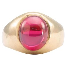 18ct Gold Synthetic Ruby Signet Ring