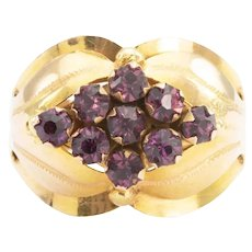 18ct Gold Purple Paste Wide Cluster Ring, Size S (US 9¼)