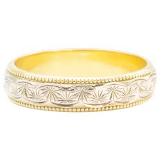 18ct 2 Colour Gold Floral Patterned Wedding Band Ring, Size N½ (US 6¾)