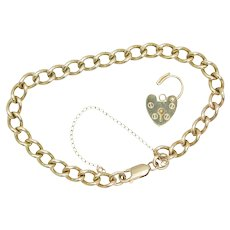 """9ct Gold 8"""" Curb Bracelet with Removeable Heart Padlock, 20 grams"""