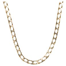 """9ct Gold 19"""" Flat Curb Chain Necklace, 22 grams"""