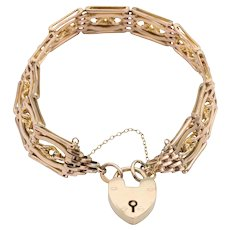 "9ct Rose Gold 8"" Fancy Gate Bracelet with Heart Padlock, 21 grams"