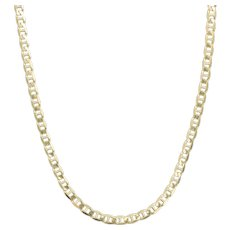 """9ct Gold 24"""" Long Anchor Chain Matinee Necklace, Marine Link, 11.5 grams"""