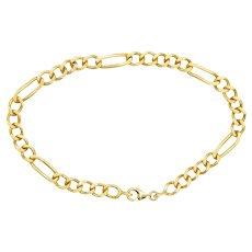 """18k Gold 8"""" Figaro Bracelet, 11.7 grams"""