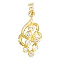 20ct Gold 7 Stone Diamond Floral Design Pendant