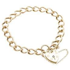 "9ct Gold 7"" Charm Bracelet with Heart Padlock, 15 grams"