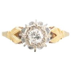 Vintage 18k Gold Diamond Solitaire Engagement Ring, 0.25 Carat, High Set