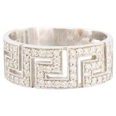 14ct White Gold Greek Meander Diamond Ring, Size R ½ (US 9)