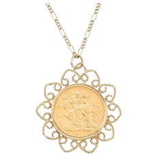 1912 Sovereign in 9ct Gold Pendant with Figaro Chain