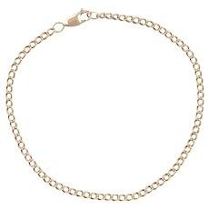 """9ct Gold 10"""" Curb Link Anklet"""