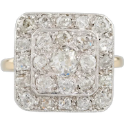 Art Deco 18ct Gold Old Cut Diamond Panel Cluster Ring