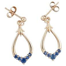 9ct Gold Pear Shaped Drop Sapphire Earrings