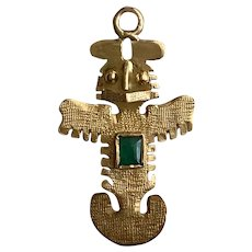 Aztec 18K Gold Charm with Emerald