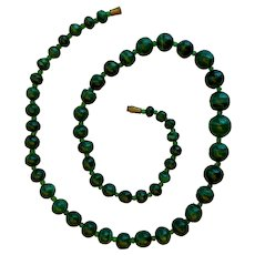 "21.5"" Natural Malachite Bead Necklace (Shades of Green; Vintage)"