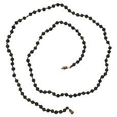 """25"""" Necklace with small green Nephrite Jadeite Beads"""