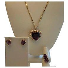14K Gold & Amethyst Heart Set ~ Pendant Brooch, Ring, Earrings & Chain