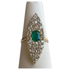 Victorian Diamond & Emerald 14K Cocktail Ring - Late 1800's (Size 6¾ )