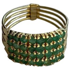 14K Gold & Emeralds Harem Ring (From Turkey, Size 7.75)
