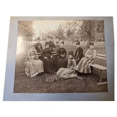 Large circa 1900 photograph lovely group of identified Ladies in a park setting.