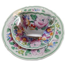 Crown Staffordshire England beautiful enameled floral pattern cup saucer and plate trio vibrantly colored