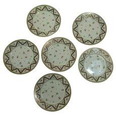 Six Antique Sevres style hand painted porcelain plates floral motif with cobalt & gold trim
