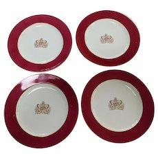 Four Copeland Spode antique Armorial dinner plates Bristol Virtute et Industria