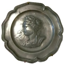 Antique pewter charger repousse embossed handmade portrait of Elizabethan woman
