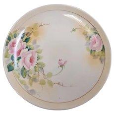 Vintage hand painted Nippon porcelain plate pink roses floral