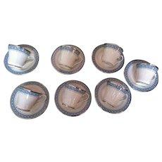 Vintage Gorham porcelain blue silver Kingsbury pattern 7 cup & saucer sets elegant classic
