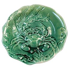 Earlier 1900's Majolica green plate seaweed and crab Made in Spain