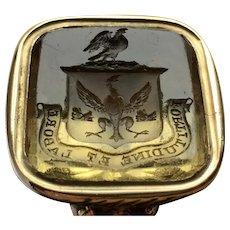 Scottish solid 18ct yellow gold  Citrine intaglio fob seal