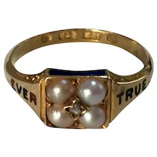 Antique Victorian 18ct yellow gold enamel pearl and diamond EVER TRUE ring