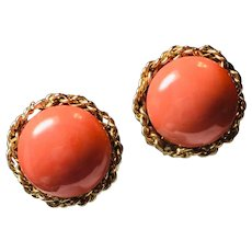 14k Yellow Gold Salmon Coral Clip On Earrings