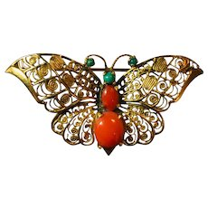 14k Yellow Gold Coral and Turquoise Butterfly Brooch