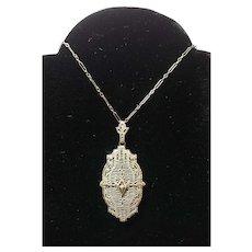 14k White Gold Deco Filigree Pendant With Chain