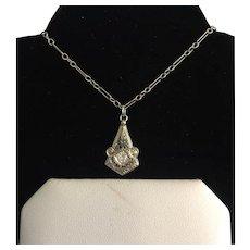 14k White Gold Diamond Filigree Deco Pendant on Chain