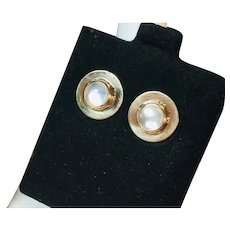 14k Yellow Gold Moonstone Stud Earrings
