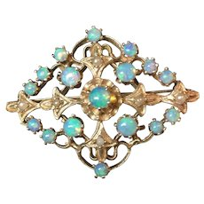 14k Yellow Gold Opal and Seed Pearl Brooch/Pendant