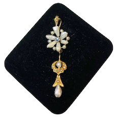 10k Yellow Gold Pearl and Blue Topaz Deco Pendant