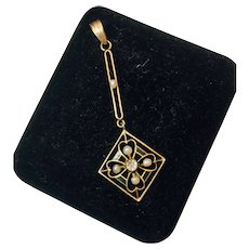 10k Yellow Gold Seed Pearl and Enamel Deco Pendant