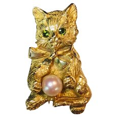 14k Yellow Gold Cat Brooch